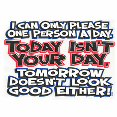 novelty funny shirt I can only please one person a day Today isn't your day