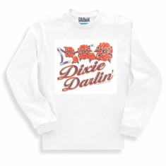 novelty long sleeve t-shirt or sweatshirt DIXIE DARLIN' darling southern girl confederate flag rose