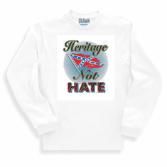 Novelty long sleeve T-shirt or sweatshirt heritage not hate dixie confederate flag south southern