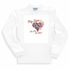 novelty long sleeve t-shirt or sweatshirt my dixie heart on fire southern confederate flag