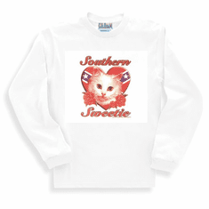 novelty long sleeve t-shirt or sweatshirt Southern sweetie cat kitten dixie confederate flag