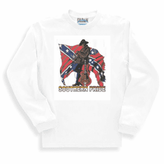 novelty long sleeve t-shirt sweatshirt SOUTHERN PRIDE dixie confederate flag south country and western music