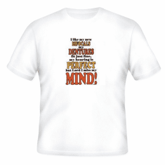 Novelty old age T-shirt I like my new bifocals dentures perfect but Lord I miss my mind