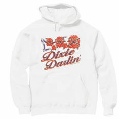 novelty pullover hooded hoodie sweatshirt DIXIE DARLIN' darling southern girl confederate flag rose