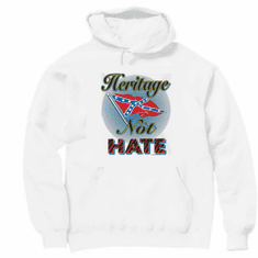 Novelty pullover hooded hoodie sweatshirt heritage not hate dixie confederate flag south southern
