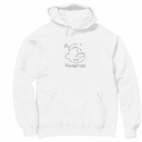 novelty pullover hooded hoodie sweatshirt HUNGOVER hung over face drinking party