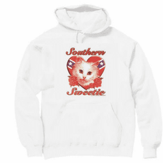 novelty pullover hooded hoodie sweatshirt Southern sweetie cat kitten dixie confederate flag
