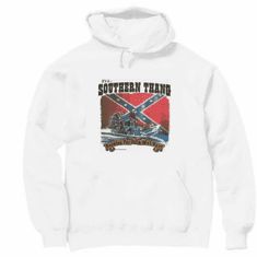 Novelty pullover hooded hoodie sweatshirt SOUTHERN THING looking wet spot boat confederate flag dixie