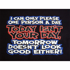 novelty shirt can only please one person a day Today isn't your day (xit)