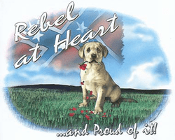 novelty shirt dixie REBEL AT HEART puppy dog confederate flag