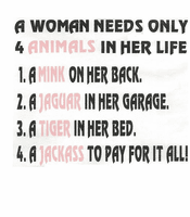 novelty shirt funny a woman needs only 4 animals in her life