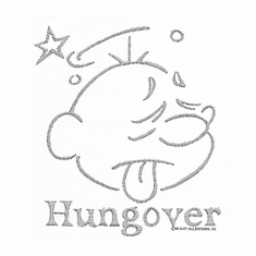 novelty shirt HUNGOVER hung over face drinking party