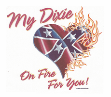 novelty shirt my dixie heart on fire southern confederate flag
