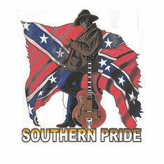 novelty shirt SOUTHERN PRIDE dixie confederate flag south country and western music