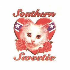 novelty shirt Southern sweetie cat kitten dixie confederate flag