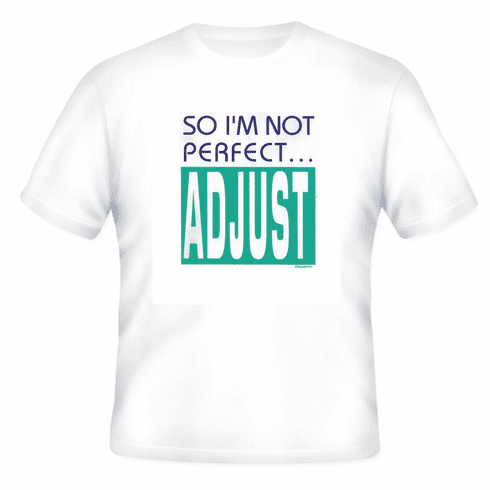 novelty t-shirt attitude So I'm not perfect  ADJUST