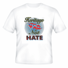 Novelty T-shirt heritage not hate dixie confederate flag south southern