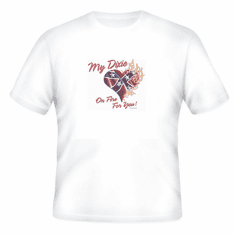 novelty t-shirt my dixie heart on fire southern confederate flag