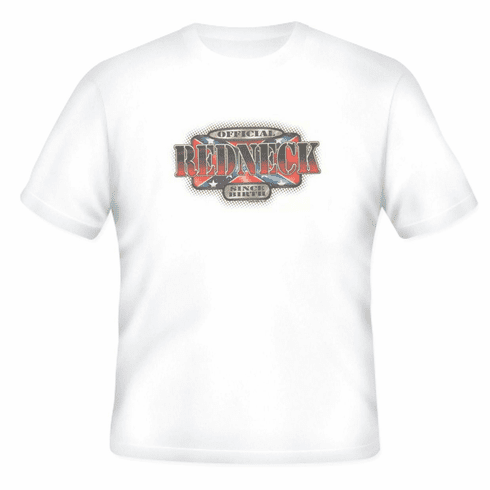 novelty T-shirt official REDNECK since birth dixie confederate flag