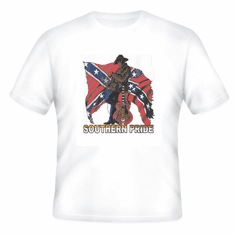 novelty t-shirt SOUTHERN PRIDE dixie confederate flag south country and western music