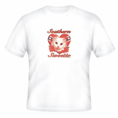novelty T-shirt Southern sweetie cat kitten dixie confederate flag