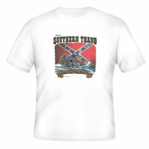 Novelty T-shirt SOUTHERN THING looking wet spot boat confederate flag dixie