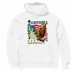Patriotic America Land of the Free American Flag Eagle hoodie hooded sweatshirt