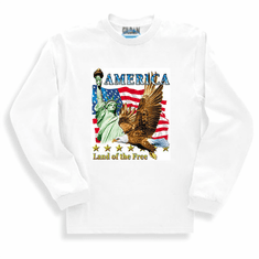 Patriotic America Land of the Free American Flag Eagle long sleeve t-shirt shirt sweatshirt