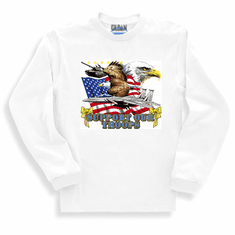 Patriotic American Flag Eagle Support our Troops yellow ribbon long sleeve t-shirt shirt sweatshirt