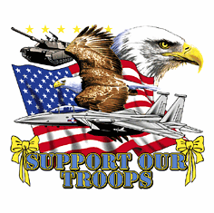 Patriotic American Flag Eagle Support our Troops yellow ribbon shirt