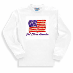 Patriotic American Flag God Bless America long sleeve t-shirt shirt sweatshirt