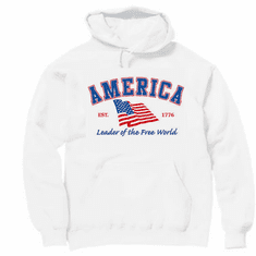 Patriotic American Flag Leader of the Free World Est. 1776 hoodie hooded sweatshirt