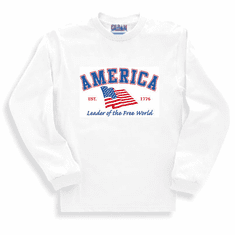 Patriotic American Flag Leader of the Free World Est. 1776 long sleeve t-shirt shirt sweatshirt