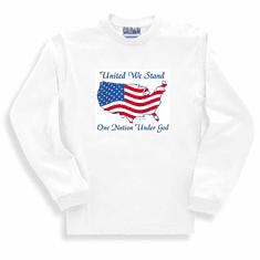 Patriotic American Map Flag United We stand One Nation Under God long sleeve t-shirt shirt sweatshirt