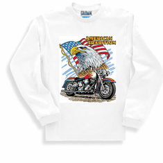 Patriotic American Tradition Eagle Flag Motorcycle long sleeve t-shirt shirt sweatshirt
