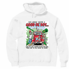 Redneck You know you're a Good Ol' Boy When you have a bumper sticker that reads Never mind the dog beware the owner hoodie hooded sweatshirt