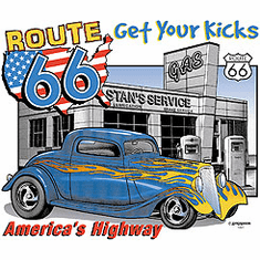 Route 66 antique car tshirt shirt america's highway