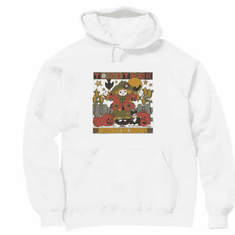 Seasonal Autumn Fall together makes it not so scary rag doll scarecrow pumpkins jack o lantern hoodie hooded sweatshirt