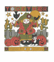Seasonal Autumn Fall together makes it not so scary rag doll scarecrow pumpkins jack o lantern shirt