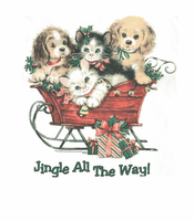 Seasonal Christmas Jingle all the way sleigh dogs puppy kittens cat shirt
