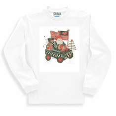 Seasonal Christmas Santa in wagon Americana long sleeve t-shirt shirt sweatshirt