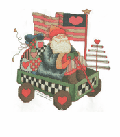 Seasonal Christmas Santa in wagon Americana shirt