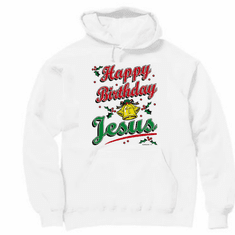 Seasonal Holiday Christmas Christian Happy Birthday Jesus hoodie hooded sweatshirt