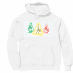 Seasonal Holiday Christmas Green yellow red snowy trees hoodie hooded sweatshirt