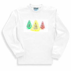 Seasonal Holiday Christmas Green yellow red snowy trees long sleeve t-shirt shirt sweatshirt