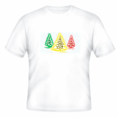 Seasonal Holiday Christmas Green yellow red snowy trees t-shirt shirt