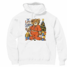 Seasonal I Love Christmas Teddy Bear hoodie hooded sweatshirt