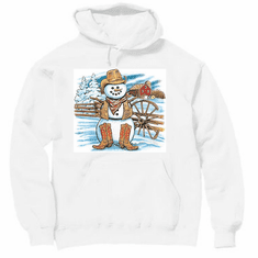 Seasonal Winter Cowboy snowman hoodie hooded sweatshirt