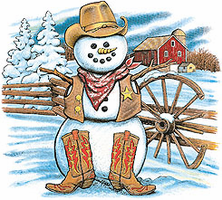 Seasonal Winter Cowboy snowman shirt