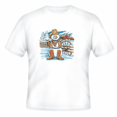 Seasonal Winter Cowboy snowman t-shirt shirt